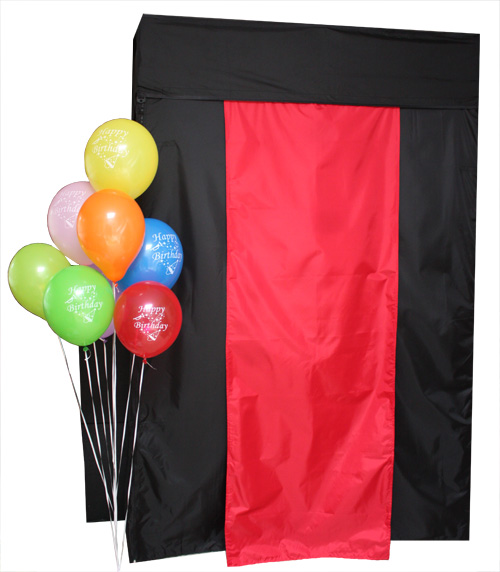 The enclosed booth you can rent from All Events Photo Booth.